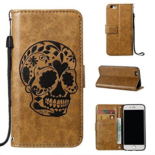 iPhone 6 Hülle,Fodlon® Mode Totenkopf Geprägt mit Karte Schlitze Telefon Schutzhülle -Blau Kaffee