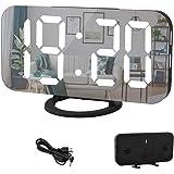 ساعة منبه رقمية بشاشة ليد كبيرة مقاس 6 انش مزودة بمنافذ شاحن يو اس بي مزدوجة ووضع تعتيم تلقائي وخاصية الغفوة، تستخدم كساعة حا