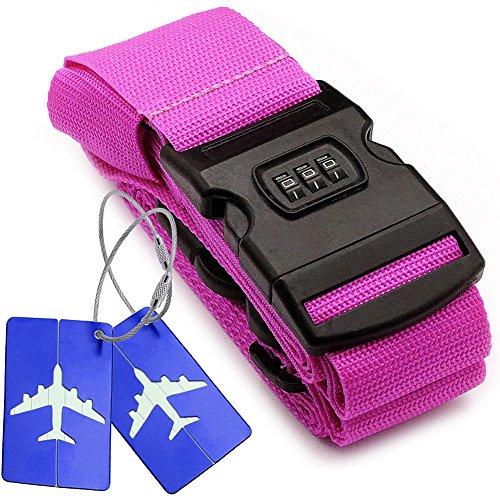 Kreuz Gepäckriemen Code + 2*Bordkarte mit Nummernschloss mit hermetischer Tasche der integrierten Mitteilung für Reisetasche Gepäck Gürtel für Reise – Rosa (Stück Leder-gepäck-set 2)