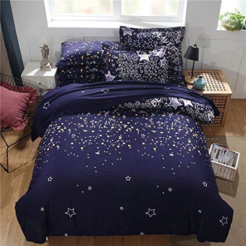 Tröster Bettwäsche-bettwäsche-satz (BEIZI Bettbezug Sets 3-teilige Galaxy Sky konstellation Print weicher Mikrofaser bettwäsche Set mit 1 Tröster-Cover & 2 Kissenbezüge schwarz, doppel, B)
