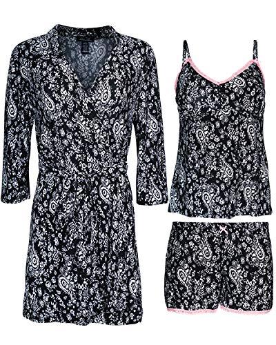 Rene Rofe Damen Pyjama-Set 3-teilig, Shorts, Cami und Bademantel - Schwarz - Large -