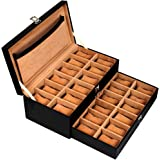Leather World 24 Slots Men Watch Box Drawer With Lock System Organizer Display Case Jeweler Storage Women -Black