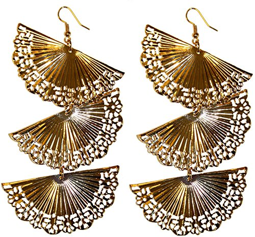 gold | ca 9 x 5,5cm |Flamenco / Spanierin-Ohrringe für Karneval oder Fasching (Flamenco Paar Kostüme)
