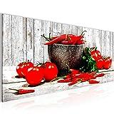 Bilder Küche - Gemüse Wandbild Vlies - Leinwand Bild XXL Format Wandbilder Wohnzimmer Wohnung Deko Kunstdrucke Blau Grau 1 Teilig -100% MADE IN GERMANY - Fertig zum Aufhängen 005812b