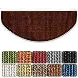 Sisal-Stufenmatte Sylt | Dunkelbraun | Halbrund 65 x 23,5 cm