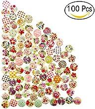 Yosemy Botones Ropa, [100 Pcs] Colores Pintados Botones De Madera Redonda De Bricolaje Para La Costura Y Elaboración