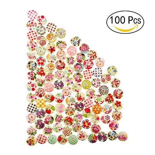 Yosemy bottoni in legno, [100 PCS] con stampa floreale, adatti per cucito e scrapbooking bottoni colorati assortiti floreali