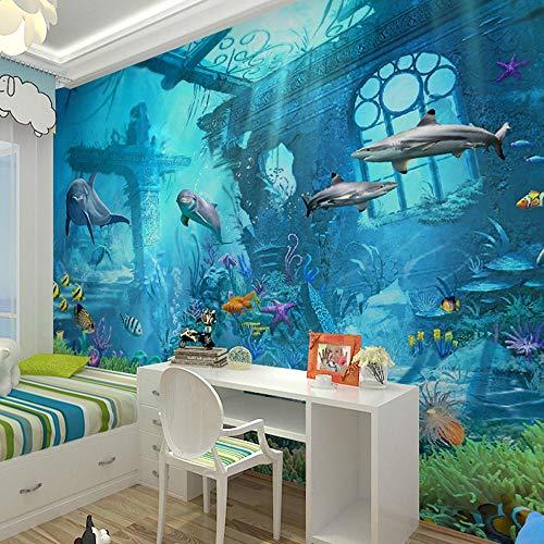 WAHAZC Große Wandbilder Seide Tapete 3D Wandgemälde 3D Sea World Fisch Fototapeten Wandbilder Wandpapier für Kinder Wandkunst Dekor Minion Wallpaper TV Hintergrund Wand Badezimmer Restaurant Halle W