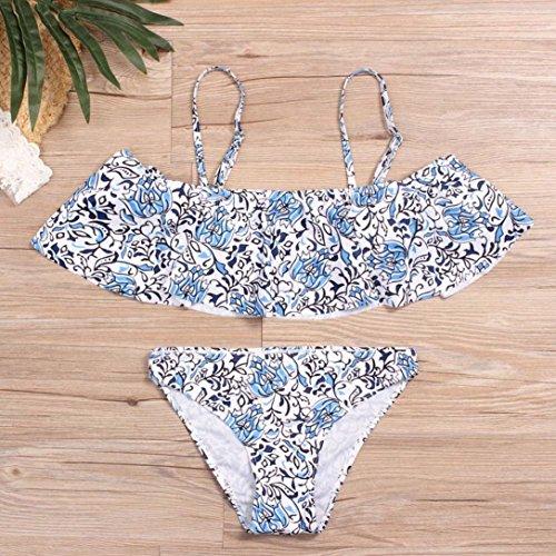 Tpulling Maillot de Bain Femme 1 Pieces ❤️ Femmes Bikini Set Maillots de Bain Push-Up Rembourrés Soutien-Gorge Imprimé Maillots ❤️ 1 centime Produit blue