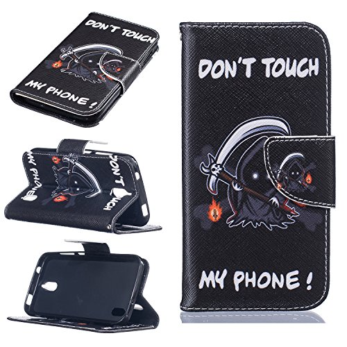 Cozy Hut Schutzhülle / Cover / Hülle / Handyhülle / Etui für Huawei Y625 Bunt Muster Design Folio PU Leder Tasche Case Cover im Bookstyle mit Standfunktion Kredit Kartenfächer mit Weich TPU Innere - Tod, Do not Touch My iPhone