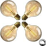 Ampoule E27 Vintage,Fil Lampe Rétro Antique 220-240V Grosse Ampoule 40W Edison Globe G80 Ampoule Filament Blanc Chaud 4 Pack