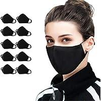 10 PCS Cotton Face Masks Bandana Balaclavas, 2-Layer Unisex Reusable Fashion Washable Mask (Pack 10, Black) - UK SELLER