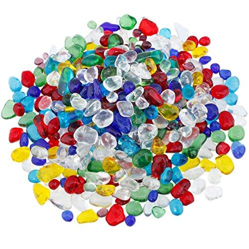Shanxing 460 Gramm Mehrfarben Murano Glas Kristall Mini Edelsteine Trommelsteine Steine Dekosteine Ornamente Größe ca. 5mm-10 mm -