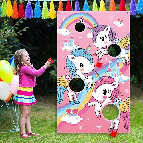 Blulu Einhorn Werfen Spiel mit 3 Stücke Nylon Sitzsack für Kinder Erwachsene Einhorn Thema Party Dekorationen und Lieferanten