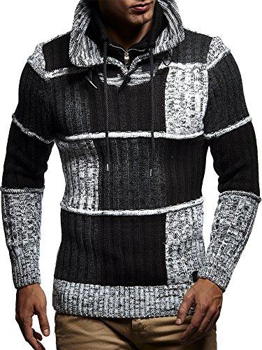 LEIF NELSON Herren Strickpullover Pullover Hoodie Sweatshirt LN5500 Schwarz-Ecru
