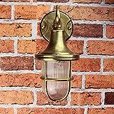 Premium Außenwandleuchte Messing echt rostfrei rustikal massiv Rillenglas Käfigschirm Wandlampe Terrasse Hauswand - 7