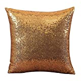 Xmiral Kissenbezüge Solid Color Glitter Pailletten Cafe Home Decor Sofakissen Pillowcase(40 x 40 cm,Yellow)