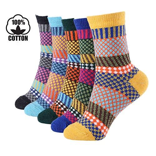 5 Pairs Winter Warm Cotton Ladies Women Socks Knitting Pure Vintage