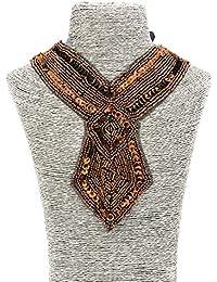 # 606Mujer Joyas Statement lentejuelas cuentas marrón étnico retro Babero collares
