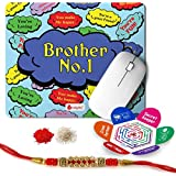 Indigifts Rakshabandhan Gifts For Brother Set Of Bro No. 1 Printed Mouse Pad 8.5x7 Inches, Crystal Rakhi For Brother, Roli, Chawal & Greeting Card - Rakhi For Brother With Gifts, Raksha Bandhan Gifts, Rakhi Gifts For Brother