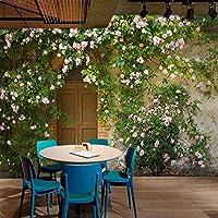 Abihua Mural Custom 3D Wallpaper Murales Rose Flower Vine Puerta De Madera Cemento Pared Retro Nostalgia