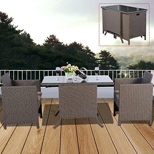 COSTWAY Poly Rattan Rattanmöbel Gartenmöbel Lounge Set Gartenlounge Gartengarnitur Gartenset Sitzgarnitur Sitzgruppe inkl. Glasplatte und Sitzkissen