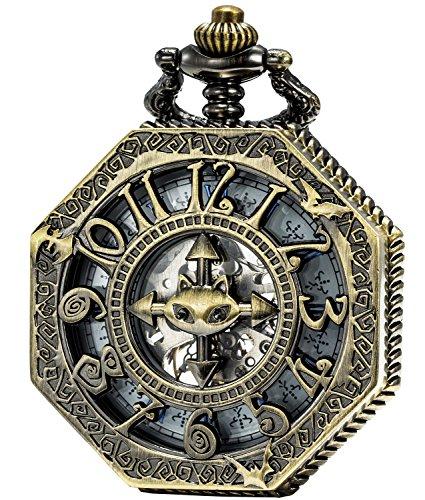 SEWOR Octagon Vintage Bat Style Mechanical Hand Wind Pocket Watch Halloween Gift (Bronze)