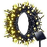 Litom 200 LED Guirlande Lumineuses Solaire 22m, Guirlande Étanche IP44 d'Extérieur avec 8 Modes Différents pour décoration les soirées, arbres, jardin, chambres, fêtes, Noël - Blanc Chaud...