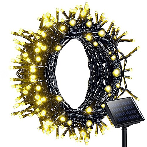Solar String Lights, Litom 200 LED Outdoor Solar Christmas Lights Garden Waterproof Solar Powered Fairy lights 8 Modes 72ft 22m for Garden, Home, Wedding, Xmas Decor, Xmas Tree [Warm White]