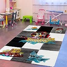 T&T Design - Alfombra infantil, diseño pirata, color gris, negro y crema, 120 x 170 cm