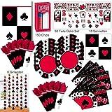 Poker Casino Abend Party Deko Set XL 235-teilig für 8 Gäste Pokerset Partypaket
