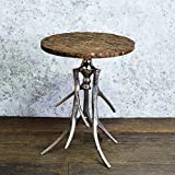 #9: Casa Decor Tree Bark Cortex Round Center Coffee Table Side End Table with Artistic Antler Base , Office Home Décor