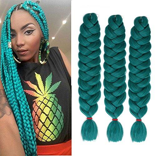 6 Packs EuniceHair Jumbo Flechten Hair Extensions 41 Zoll Colorful Kunsthaar Kanekalon Haar für Heimwerker Crochet Box Zöpfe Blond Color 165 g/pcs 100 cm (dark green)