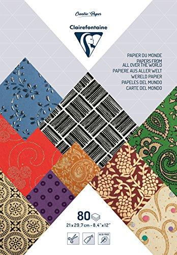 Clairefontaine 95218C Bloc Papiers du Monde 21x29,7cm, 80 Feuilles Assorti de Couleurs