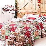 BEDSURE Weihnachten Tagesdecke 220 x 240 cm Couch Sofa Überwurf für Kinder Wohnzimmer und Schlafzimmer - Gesteppte Patchwork Bettüberwurf mit Schicke Rot & Grün Muster