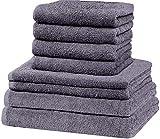 GREEN MARK Textilien 8 TLG. Handtuch-Set versch. Größen, 2X Handtücher, 2X Duschtücher, 4X Gästetücher | 100% Baumwolle | solide Qualität, Farbe: Anthrazit grau