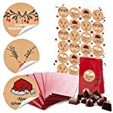 10 rote kleine Kekstüten mit Boden Weihnachten Papiertüten (7 x 4 x 20,5 cm) + 24 runde Aufkleber 4 cm schwarz-rot-weiß (14126) kleine Weihnachts-Geschenke Verpackung, give aways
