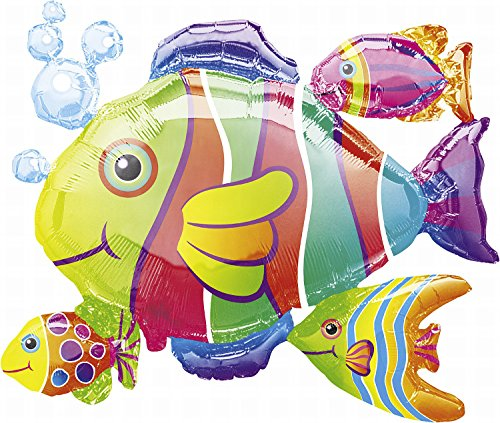Anagram 0764701 - Party und Dekoration - Folienballon Super Shape - tropische Fische, circa 77 x 61 cm