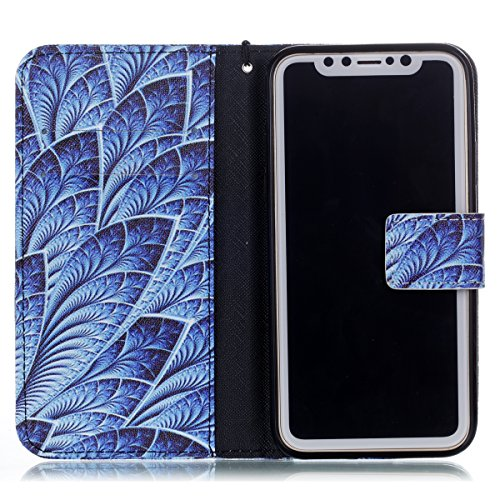 Hülle für iPhone X, Tasche für iPhone X, Case Cover für iPhone X, ISAKEN Malerei Muster Folio PU Leder Flip Cover Brieftasche Geldbörse Wallet Case Ledertasche Handyhülle Tasche Case Schutzhülle Hülle Blumen Dunkelblau