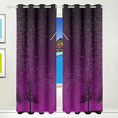 TIZORAX Night Sky Stars Comet mit Land Vorhänge, Abdunkelung isoliert lila Blackout Fenster Panel Drapes für Wohnzimmer Schlafzimmer 139,7x 213,4cm, Set von 2Panels (Schlafzimmer Vorhänge Für Blackout)