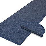 Stufenmatten Blau | Qualitätsprodukt aus Deutschland | Gut Siegel | Kombinierbar mit Läufer | 65x23,5 cm | halbrund | 15er Set