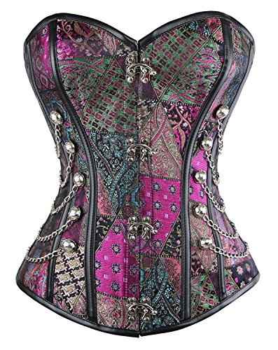 Beauty-You Damen Korsett Brokatmuster gotischen Stil Bustier Vintage Korsage Top Steampunk Corsagen top Gothic Violett Corset, Lila, X-Large (Leder Rock Front Lace Up)