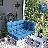 Farbvielfalt Palettensofa Palettenpolster Kissen Sofa Couch Polster Indoor Outdoor (Rückenkissen, Blau)