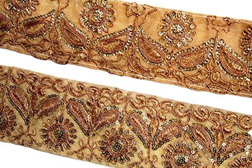 Gold Zari Trim pale green Zari Thread Trim, Zari flower Trim,Indian Trim,Bridal Wear,Indian Ribbon-Price per 01 Yard-Width 06 cm-IDL432 Zari Thread