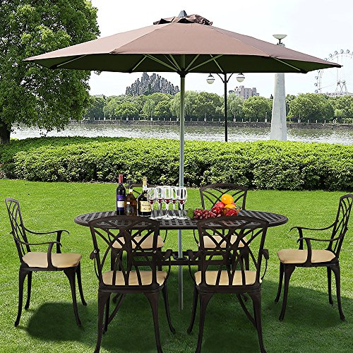 Panana Cast Aluminium Garden Table and Chairs 6 Seater Patio Furniture Set with Cushions Home Outdoor Balcony