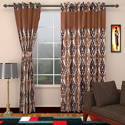 Ajay Furnishings 3 Piece Polyester Paisley Window Curtain - 5 ft, Brown
