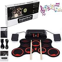 Kits de Batteries électroniques Drum Set, Roll Up percussions 10 Pads Midi Drum Kit avec casque et enceintes intégrées Drum Pedals et baguettes Double Haut-Parleur Stéréo, Fonction Enregistrement