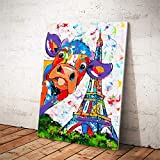 RTCKF Aquarelle Abstraite Vache Affiche de la Tour Eiffel et Impression Mur Art Toile Peinture Peinture Murale Photo décoration (sans Cadre) A6 60x90cm