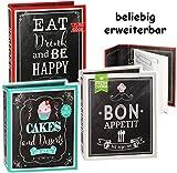 alles-meine.de GmbH eigenes _ Kochbuch & Backbuch - Sammelordner / Ordner / Ringbuch -  Eat, Drink an be Happy  __ 25 Seiten - Buch - ERWEITERBAR - Rezeptbuch zum selberschreib..