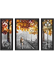 SAF Watercolor Modern Art Couple Designer Digital Reprint UV Textured Painting (Synthetic, 28.5 inch x 19.5 inch, Set of 3)